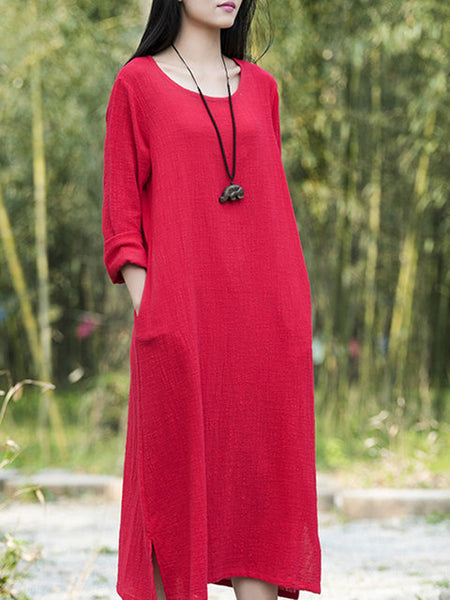 Women Daily Long Sleeve Cotton Solid Dress
