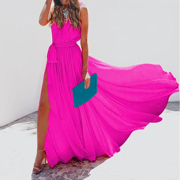 Sleeveless V-Neck Chiffon Elegant Vacation Dresses
