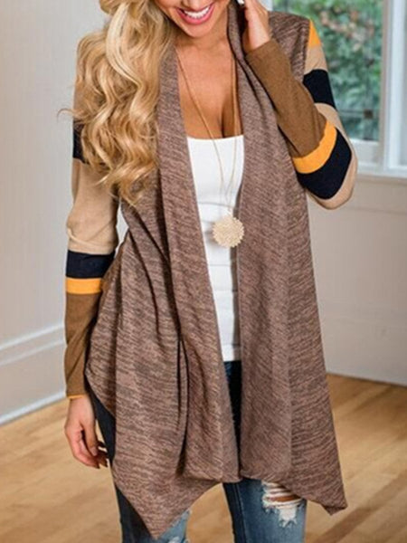 Fashion Early Autumn Irregular Color Block Cardigan