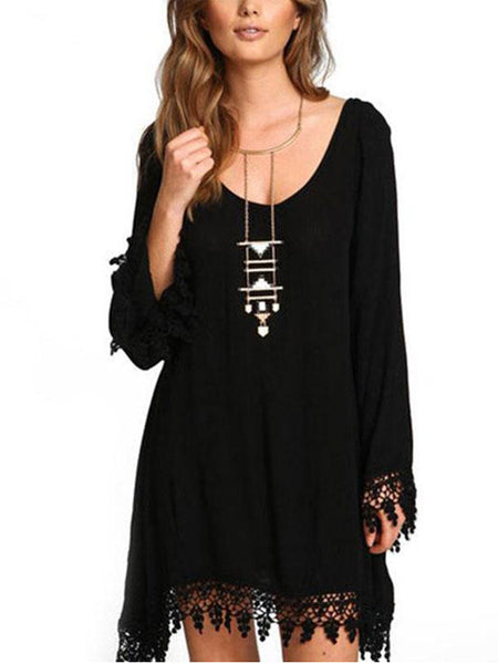 Plus Size Bohemia Loose Tassel Irregular Chiffon Beach Shift Dresses