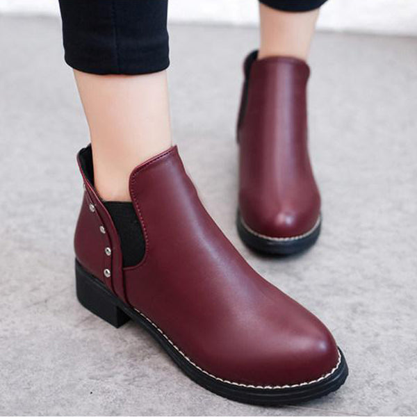 Plain Low Heeled Round Toe Casual Date Office Ankle Boots