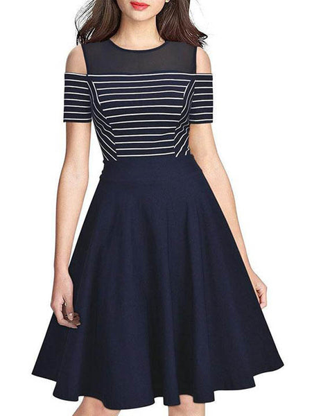 Stripe Cold Shoulder Patchwork Skater Dress