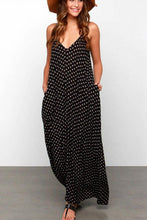 Load image into Gallery viewer, Chiffon Spaghetti Strap Backless Polka Dot Maxi Dresses