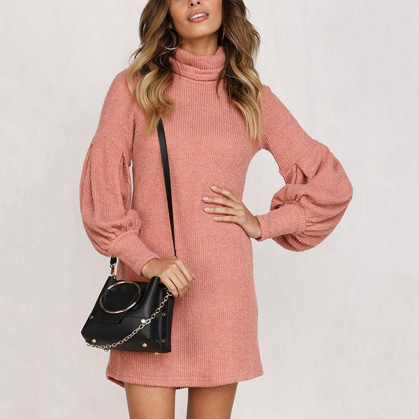 Solid Color Puff Sleeve Sexy Mini Dress
