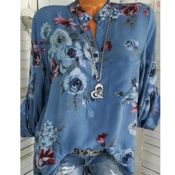 V-Neck Patch Pocket Decorative Button Floral Printed Blouses
