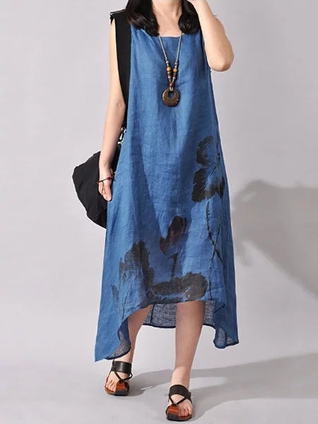 Women Asymmetrical Daily Casual Sleeveless Floral-print Dress