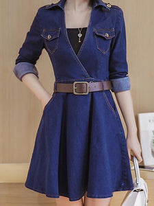 Sleeve Sash Elastic Denim Skater Dress