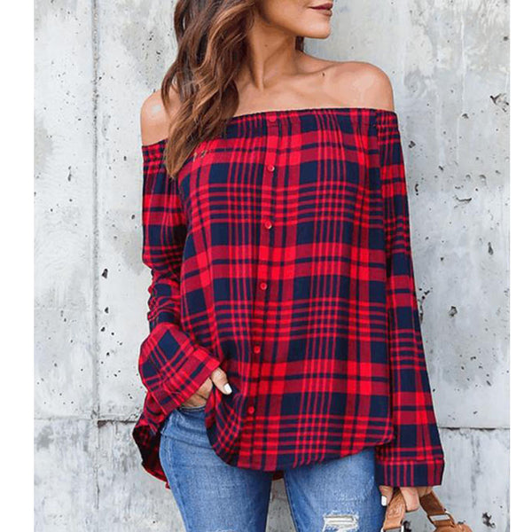Off Shoulder Decorative Buttons Checkered Blouses