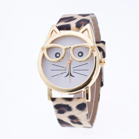 Cute Cartoon Glasses Cat Watch