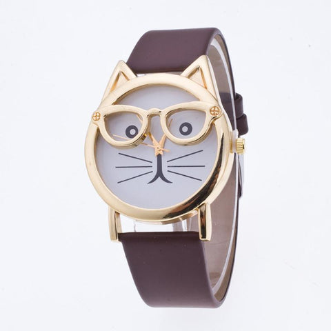 Creativity Cartoon Cat With Glasses Watch