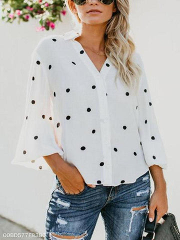 Turn Down Collar  Asymmetric Hem Single Breasted  Dot  Blouses