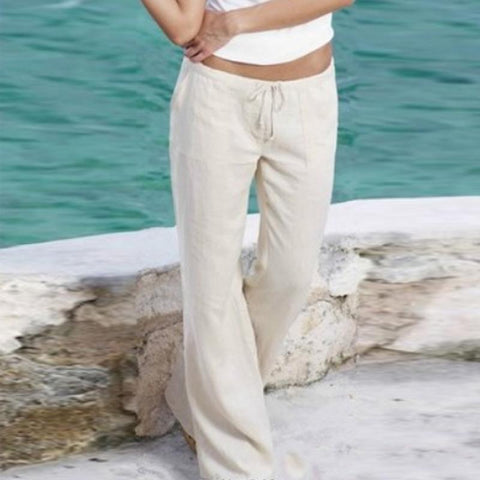 Casual Belt Loops Plain Pants