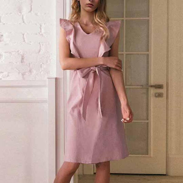 Summer Flouncing Blinding Belt Pink Shift Dress
