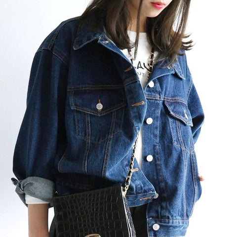 Letter Print Long Sleeves Pure Color Label Loose Denim Jacket