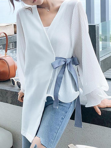 Fashion V Neck Loose Long Sleeve Chiffon Shirt