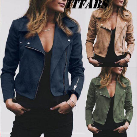 Pure Color Leather Zipper Lapel Jacket