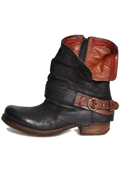 Fashion Rubber Square Heel Round Toe Zipper Boots