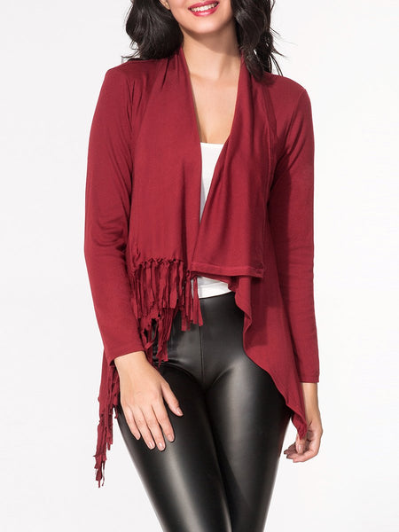 Lapel Fringe Plain Cardigan