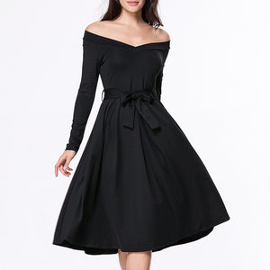 Off Shoulder Bowknot Plain Skater Dresses
