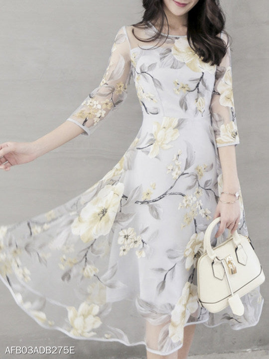 Floral Printed Hollow Out Chiffon Round Neck Skater Dress