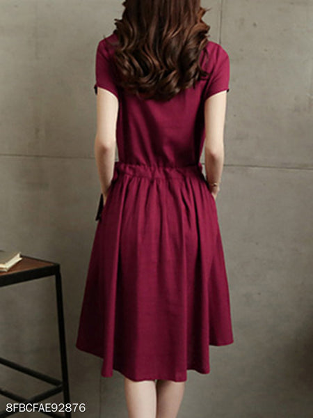 Crew Neck Drawstring Slit Pocket Plain Skater Dresses