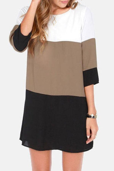 Round Neck Single Button Back Hole Color Block Three Quarter Sleeve Casual Dresses