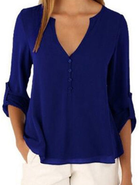 Split Neck  Plain  Roll-Up Sleeve Blouse