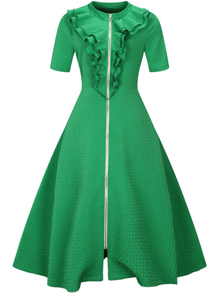 Courtly Solid Band Collar Flounce Slit Zips Skater Dress
