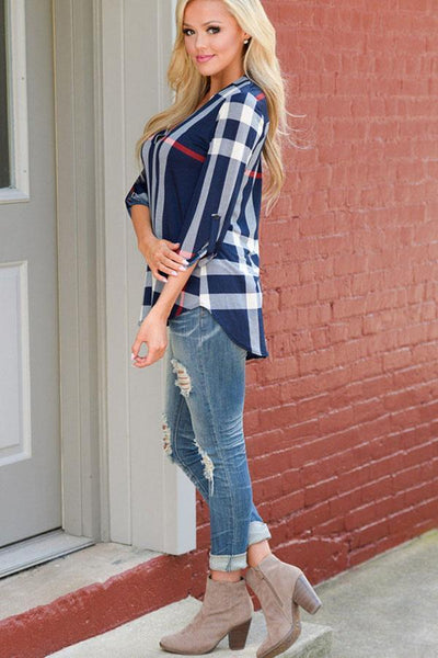 V Neck  Asymmetric Hem  Plaid  Blouses