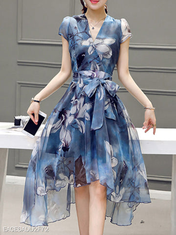 Surplice Asymmetric Hem Belt Floral Skater Dress