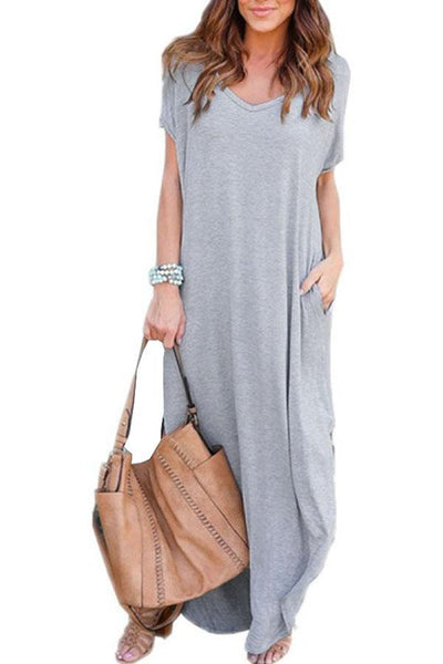 V Neck  Side Slit  Plain  Short Sleeve Maxi Dresses