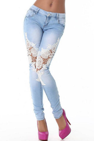 Patchwork Lace Pegged Jeans