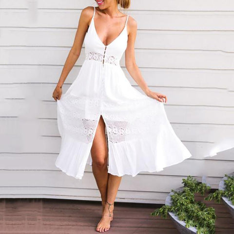 Spaghetti Strap Single Breasted Slit Hollow Out Plain Sleeveless Maxi Dresses
