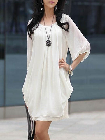 Round Neck Ruched Plain Puff Sleeve Shift Dress