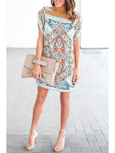 Round Neck Printed Shift Dresses