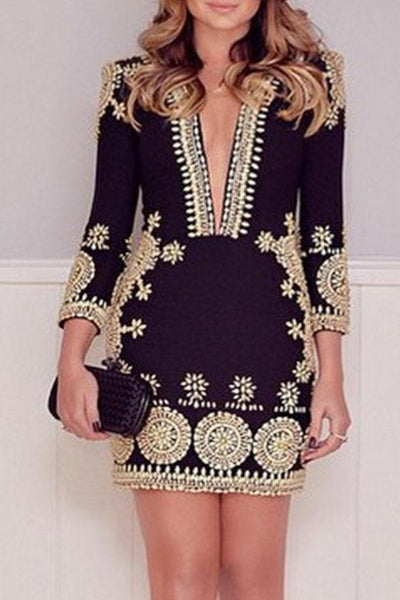 Deep V Neck  Printed Bodycon Dresses