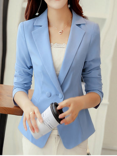 Solid Notch Lapel Single Button Long Sleeve Blazer