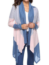 Load image into Gallery viewer, Lapel Asymmetric Hem Color Block Cardigan