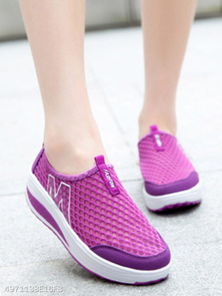 Plain Mid Heeled Mesh Round Toe Casual Sneakers