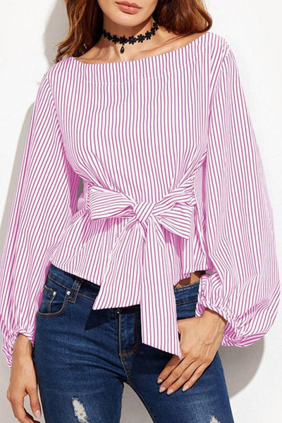 Round Neck  Bowknot  Striped Blouses