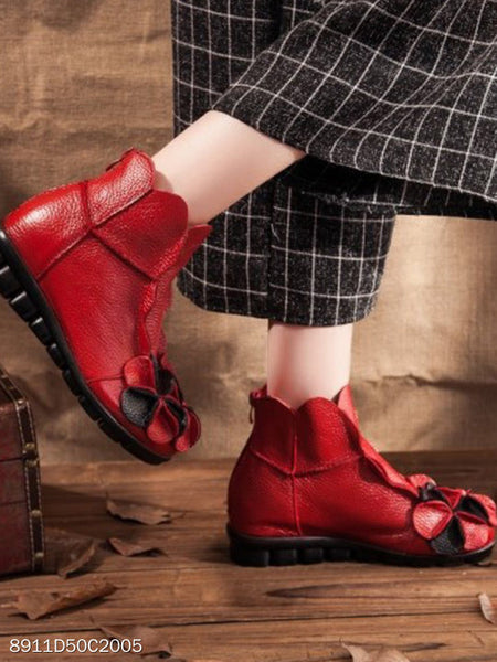 Color Block Flat Faux Leather Round Toe Casual Ankle Boots
