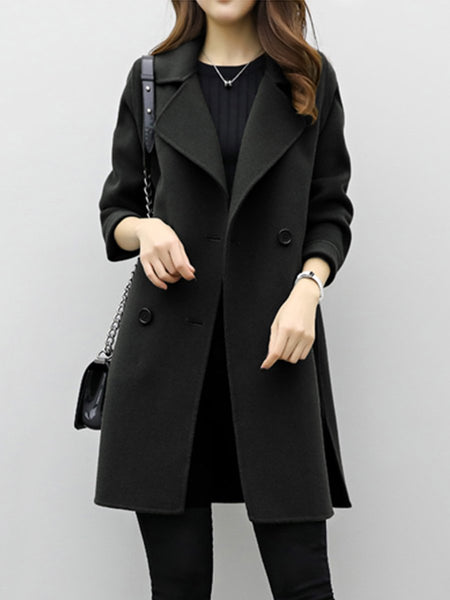 Lapel Double Breasted Plain Woolen Coat