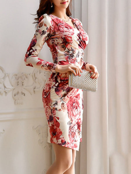 V-Neck Floral Printed Bodycon Dress