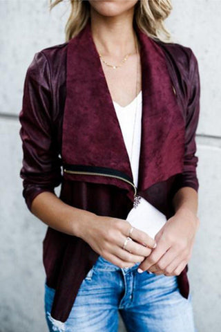 Lapel Zipper Plain Jackets