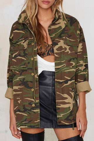 Band Collar Zipper Camouflage Jackets