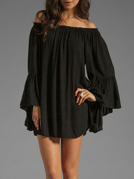 Off Shoulder Bell Sleeve Plain Mini Chiffon Shift Dress