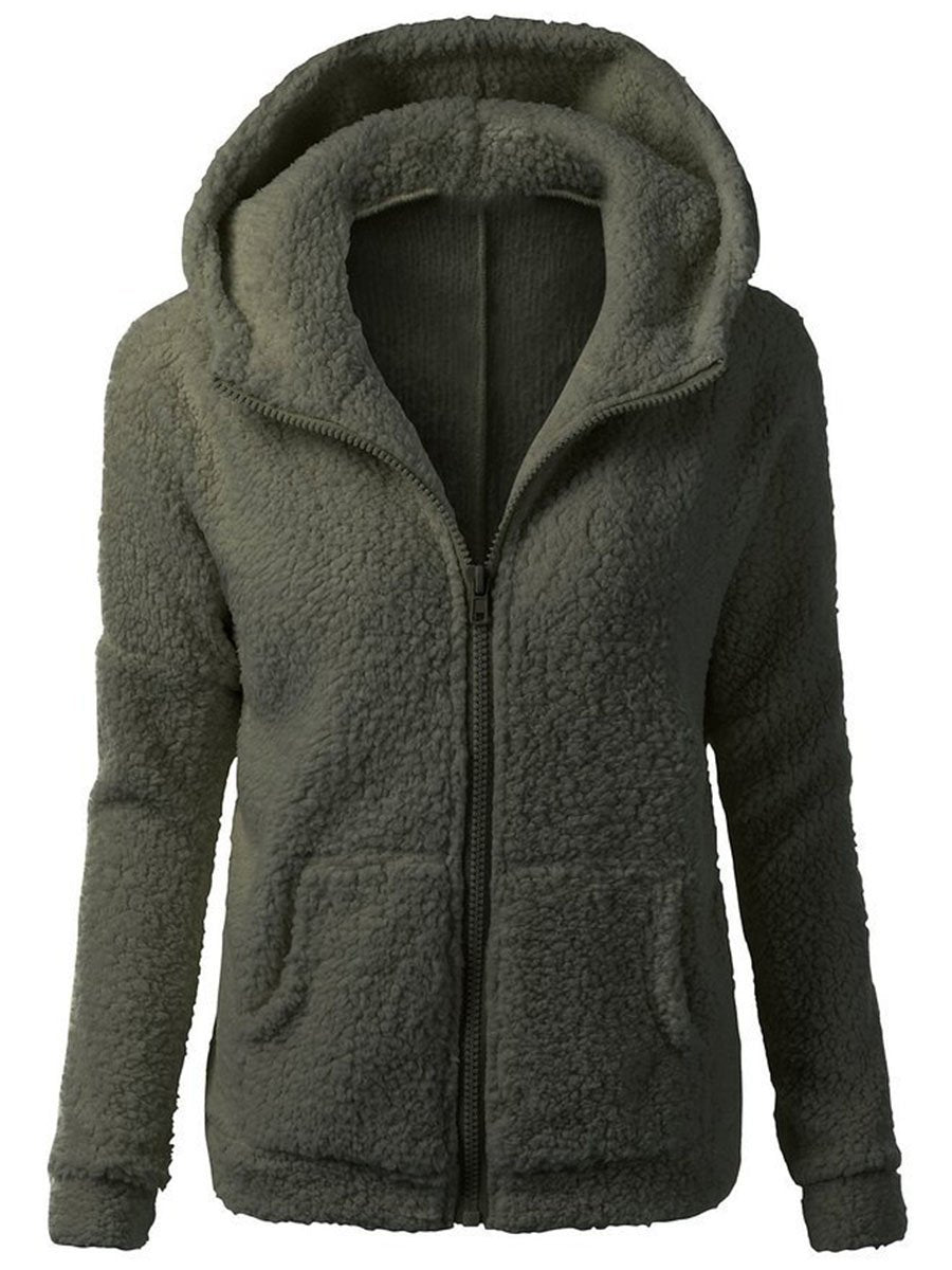 Hooded Solid Patch Pocket Fleece Coat