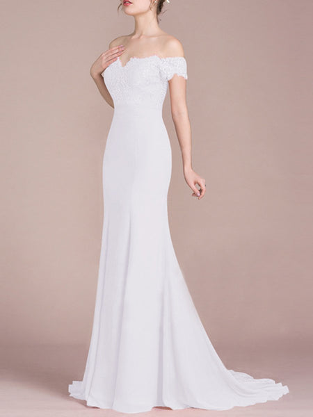Off Shoulder Decorative Lace Plain Evening Wedding Dress