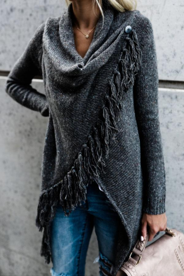 Speckled Cowl Neck Fringe Plain Cardigans