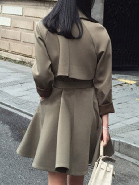 Lapel Pocket Belt Plain Trench Coat